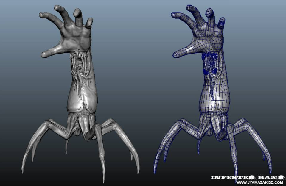 Infested Hand Wireframe with Normalmaps.