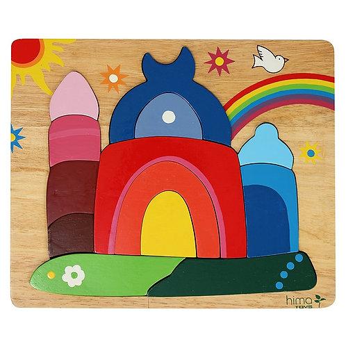 """Farbiges Holzpuzzle """"Moschee mit Regenbogen"""""""