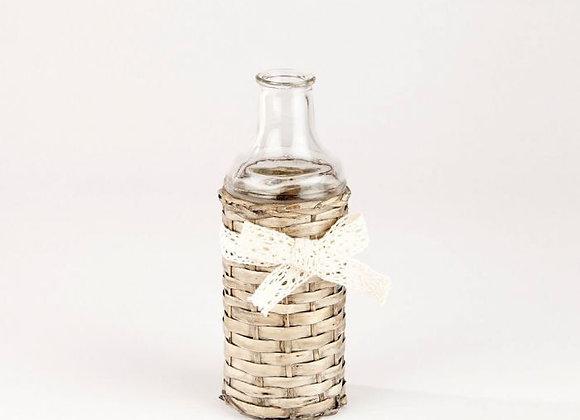 Glass Bottle in Wicker Cover - small