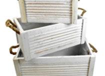 White wooden Planter - small