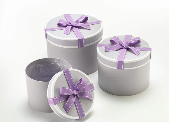 Set of 3 Grey Stephy Round Boxes