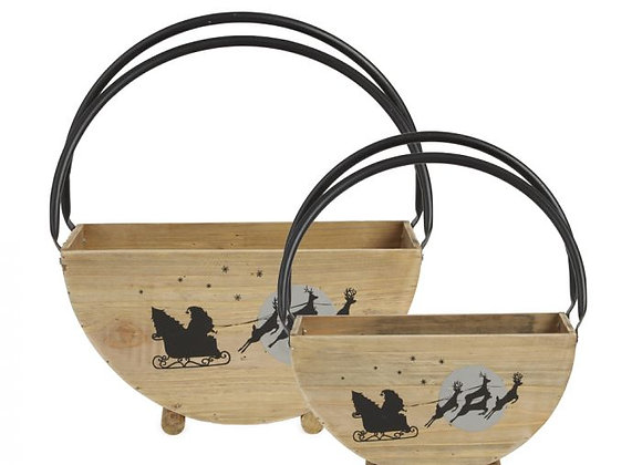 Set of 2 Sleigh Ride Planting Baskets