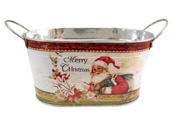 Merry Christmas Santa Oval planter