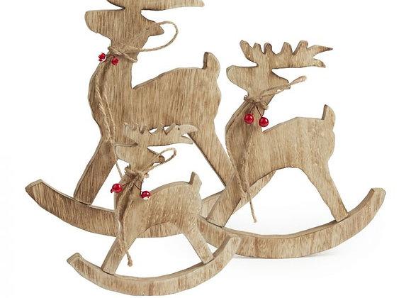 Set of 3 Rocking Reindeer