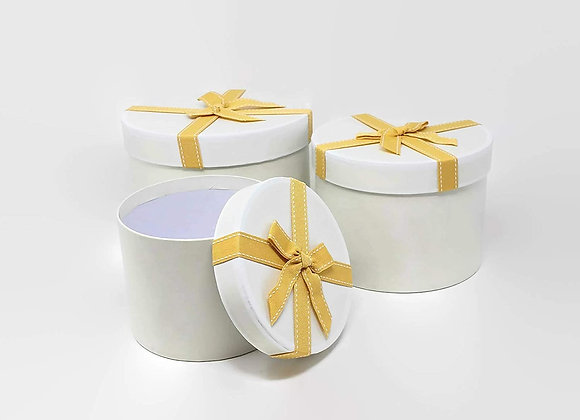 Set of 3 Cream Stephy Round Boxes
