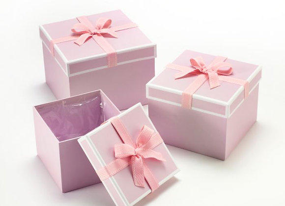 Set of 3 Pink Stephy Square Hat Boxes