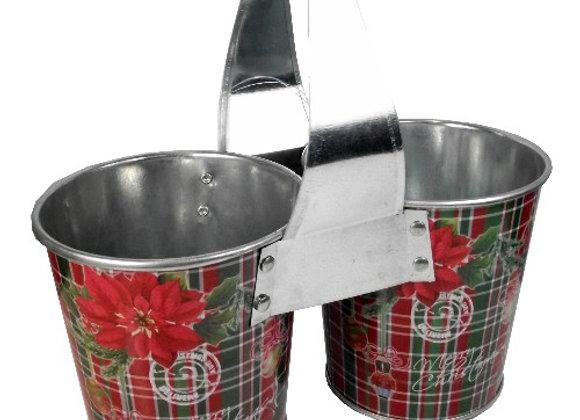 Tartan Christmas Double Bucket