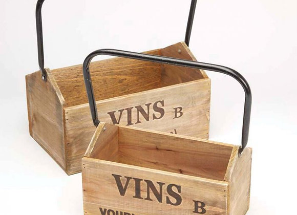 Set of 2 Wooden Wine boxes with metal handles