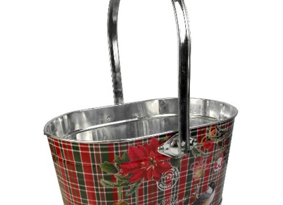 Tartan Christmas Metal Basket