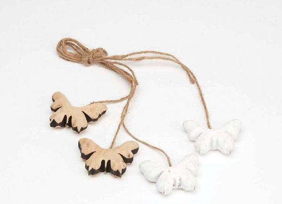 Set of 4 Wooden Butterfly Hangers
