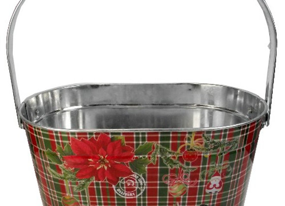 Tartan Christmas metal Oval basket