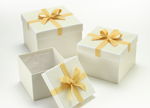 Set of 3  Cream Stephy Square Hat Boxes