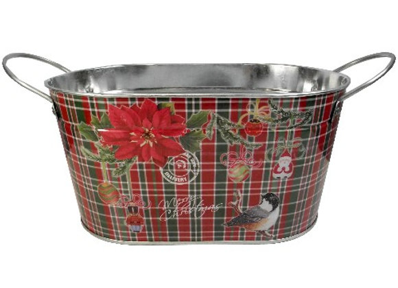 Tartan Christmas Metal Oval Planter