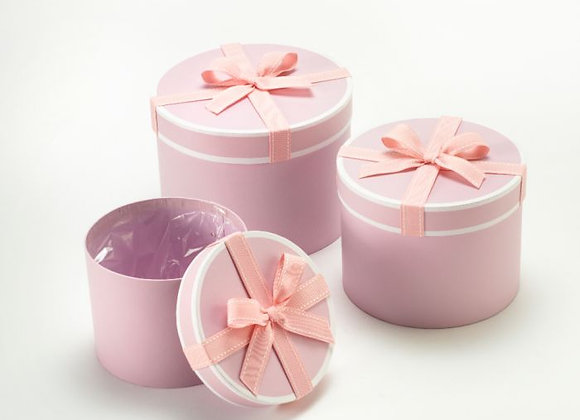 Set of 3 Pink Stephy Round Boxes