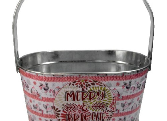 Merry & Bright Metal Oval Basket