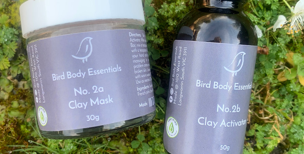 One clear jar and one small bottle that is the No.2a Clay mask and No.2b. Clay Activator.