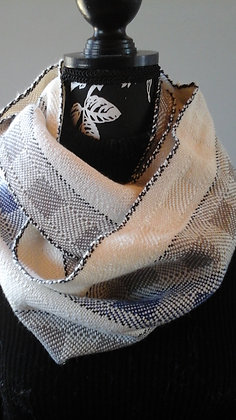 Infinity Scarf Cream, grey, blue