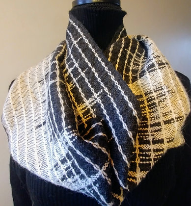 Infinity Scarf White and charcoal