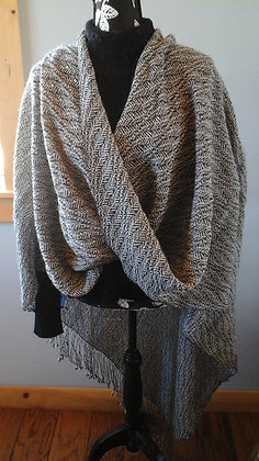 Mobius Shawl Charcoal and white