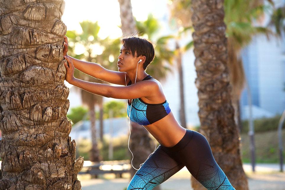 Portrait of a beautiful black woman stre