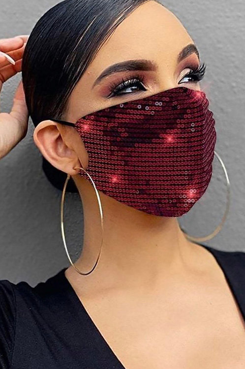 SEQUIN FACE MASK (WINE)