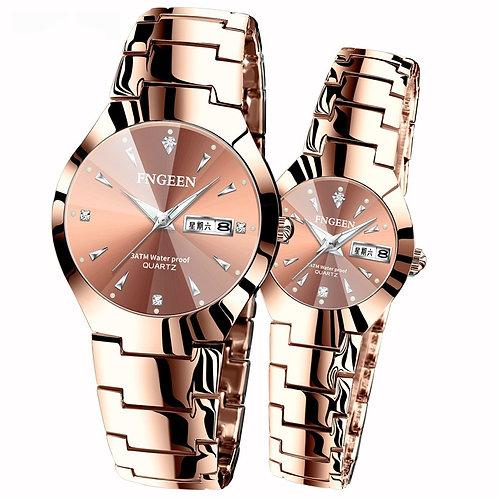 Fashion Casual Lover's Waterproof Steel Band Watches  for Men Women Wristwatch
