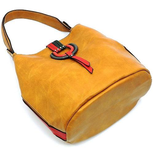 Multi Striped D-Ring Bucket Shoulder Bag Hobo
