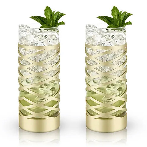 Gold & Crystal Patterned Highball Glasses