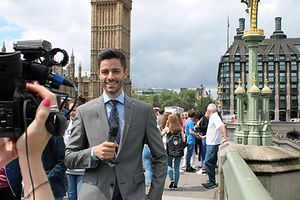 TV Presenter filming
