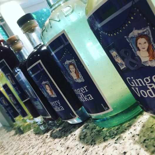 Themed bottle labels