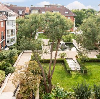 Views over communal gardens