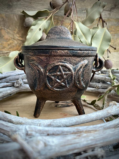 Triple Moon with Pentagram Cauldron