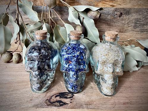Glass Bottle Skull with Crystal Chips (Smoky Quartz, Lapis Lazuli, Citrine)