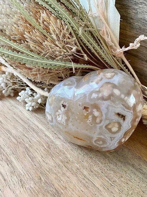 Flower Agate Heart (255g)