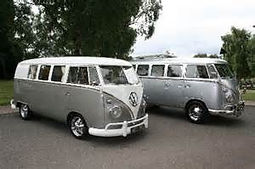 Volkswagon Hearse and following car