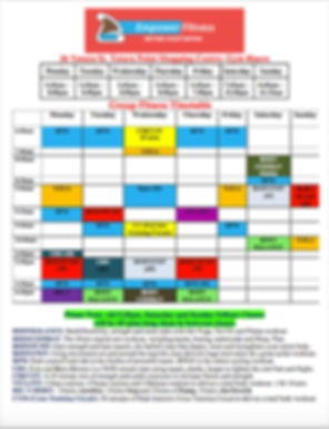 Empower Grp Fitness timetable (Covid 10