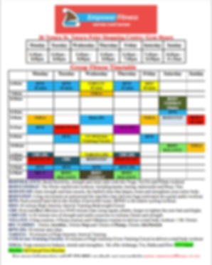 Empower Fitness Taupo Timetable 22 Feb 2