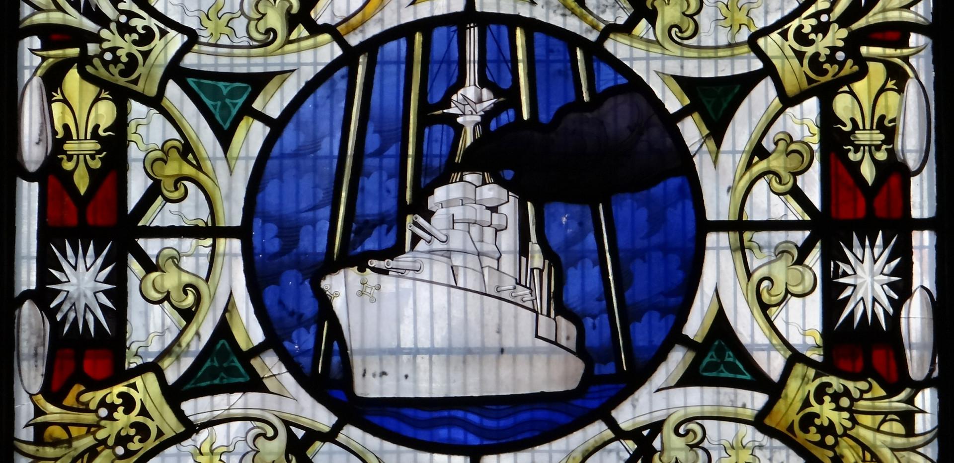 1 of 3 WW1 memorial SW Baptistery Chapel windows by Geoffrey Webb