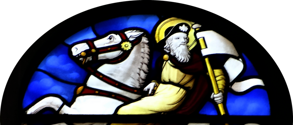 Nave, west rose window, by Geoffrey Webb, 1915 - St James and armorial panels