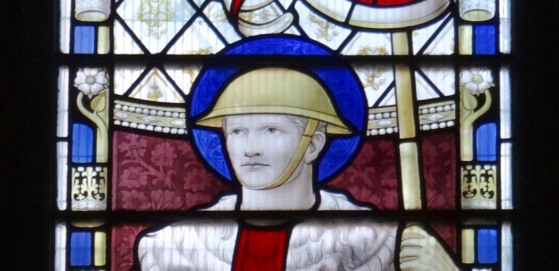 1 of 3 WW1 memorial SW Baptistery Chapel windows, by Geoffrey Webb