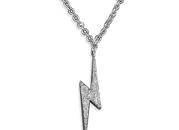 Silver Cubic Zirconia Lightning Bolt Necklace