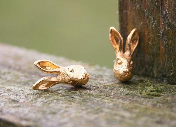 Silver Hare Stud Earrings