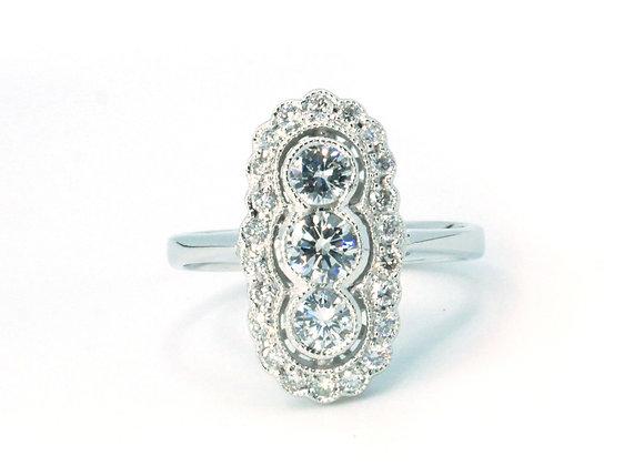 18ct Vintage Style Three Stone Diamond Halo RIng