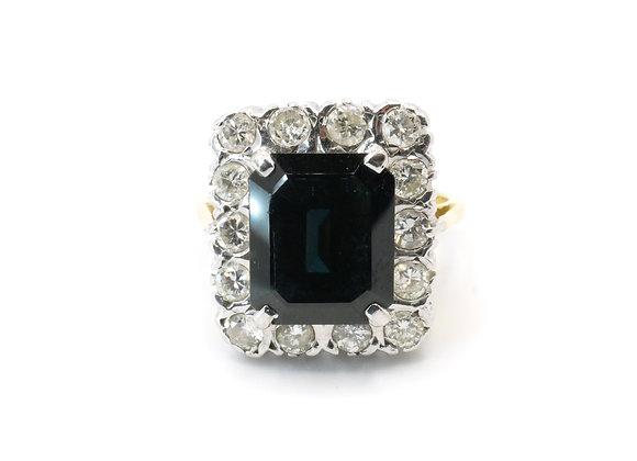 18ct Emerald Cut Sapphire & Diamond Cluster