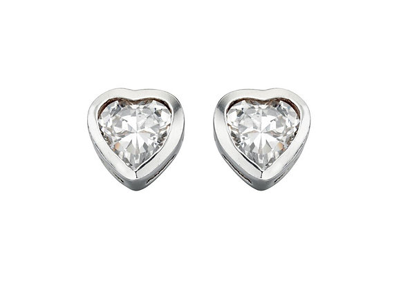 Silver Heart Cubic Zirconia Stud Earings