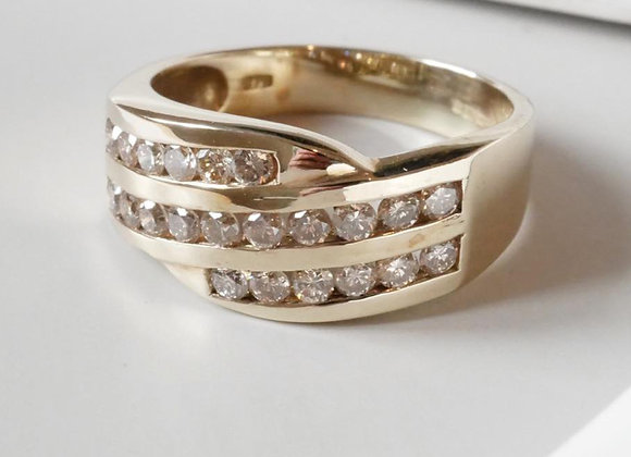 9ct Yellow Gold Diamond Three Row Ring