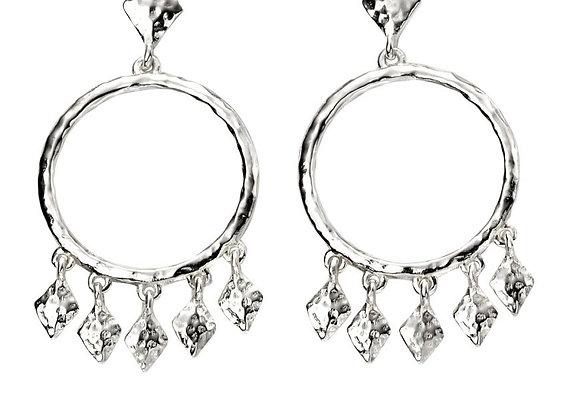 Silver Hammered Chandelier Earrings