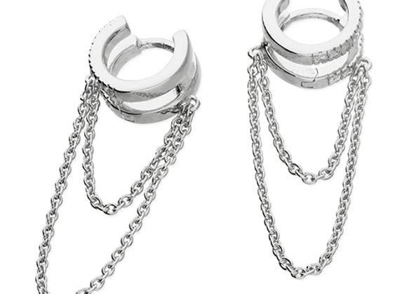 Silver Cubic Zirconia 10mm Double Hoop Chained Earrings