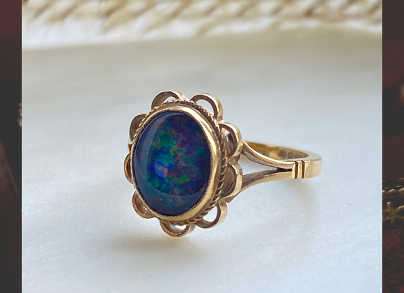 9ct Black Opal Doublet Ring