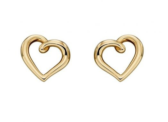9ct Yellow Gold Elegant Heart Earrings